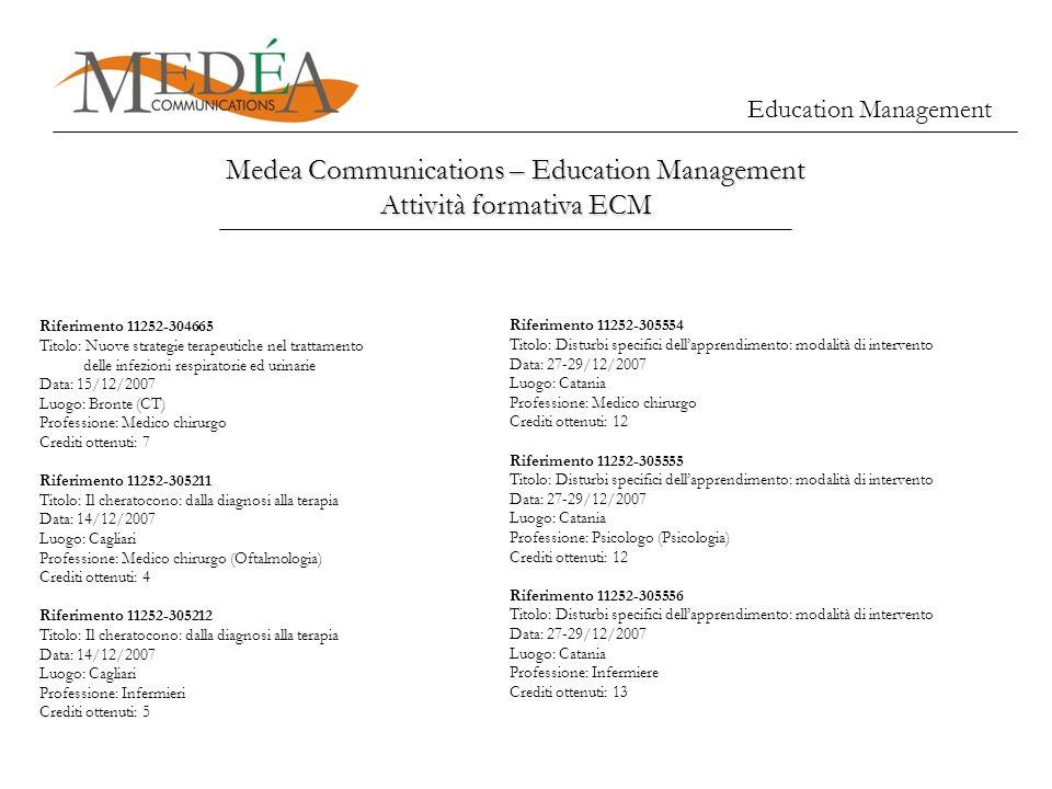 Education Management Medea Communications – Education Management Attività formativa ECM Riferimento 11252-304665 Titolo: Nuove strategie terapeutiche