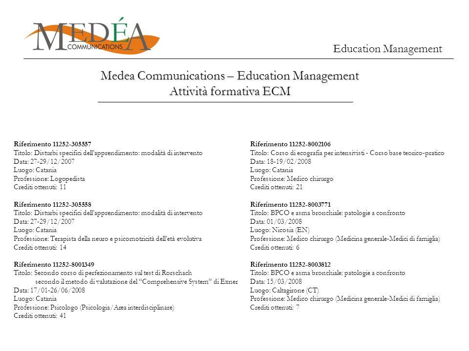 Education Management Medea Communications – Education Management Attività formativa ECM Riferimento 11252-305557 Titolo: Disturbi specifici dellappren