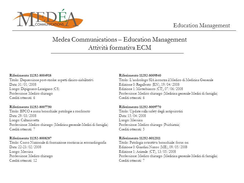 Education Management Medea Communications – Education Management Attività formativa ECM Riferimento 11252-8004918 Titolo: Depressione post-stroke: asp