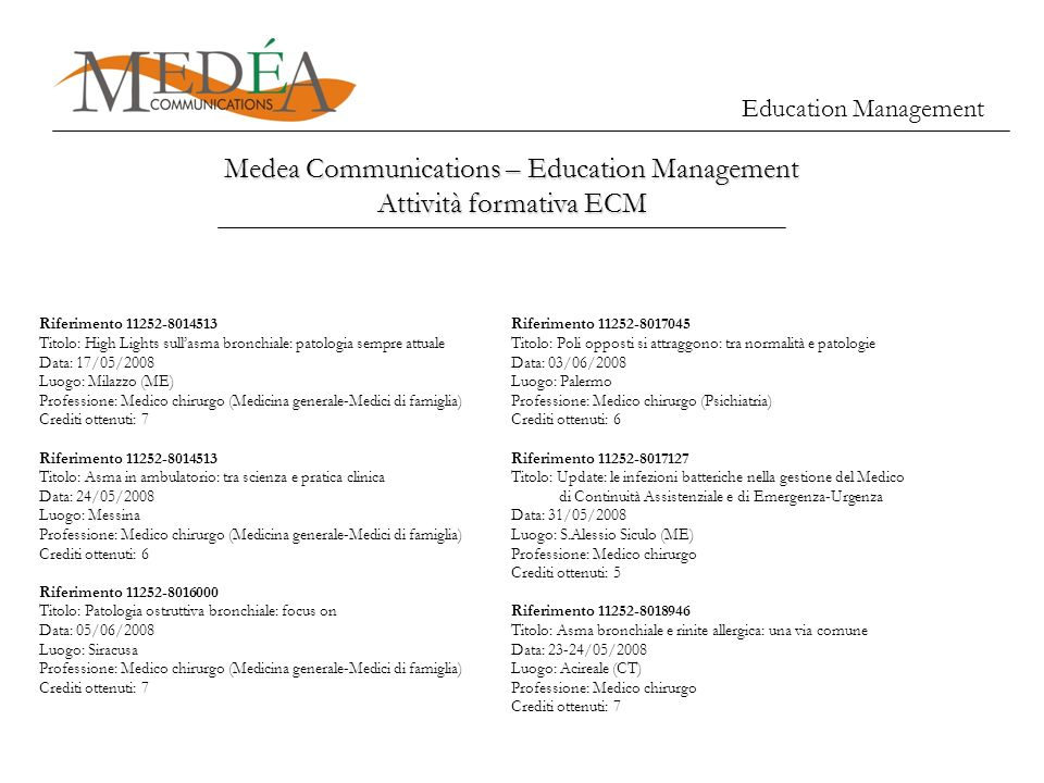 Education Management Medea Communications – Education Management Attività formativa ECM Riferimento 11252-8014513 Titolo: High Lights sullasma bronchi