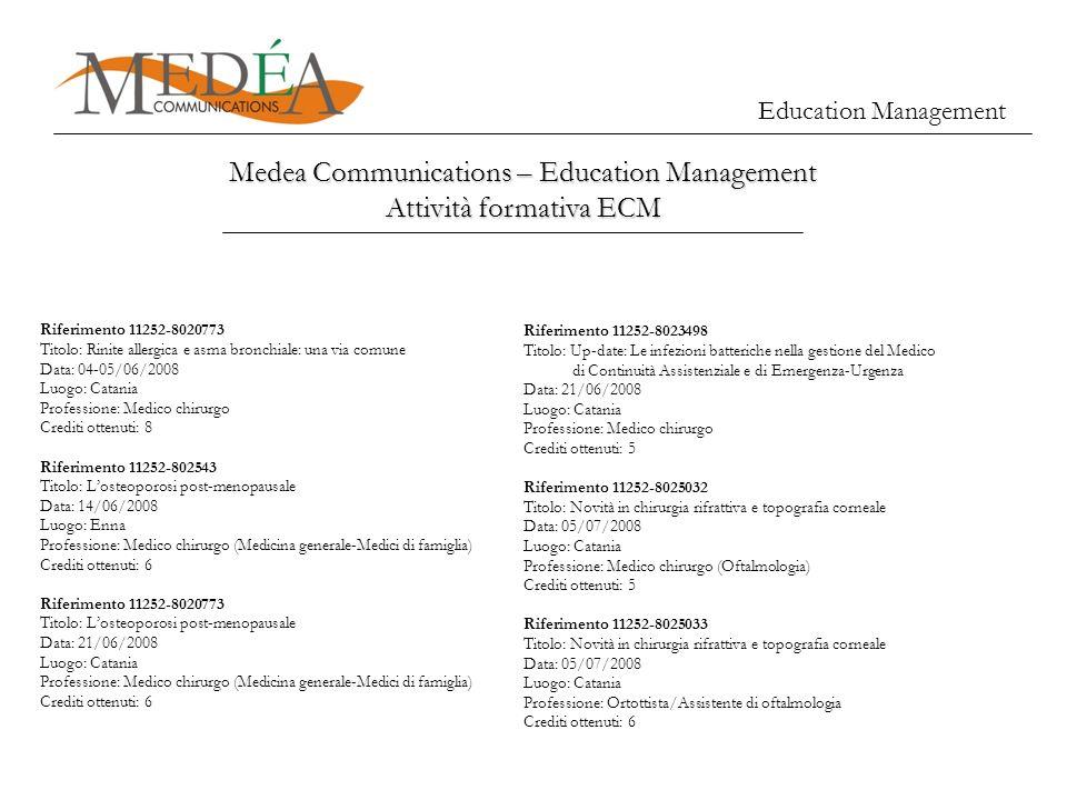 Education Management Medea Communications – Education Management Attività formativa ECM Riferimento 11252-8020773 Titolo: Rinite allergica e asma bron