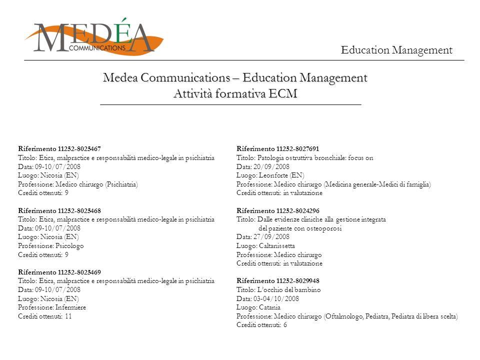 Education Management Medea Communications – Education Management Attività formativa ECM Riferimento 11252-8025467 Titolo: Etica, malpractice e respons