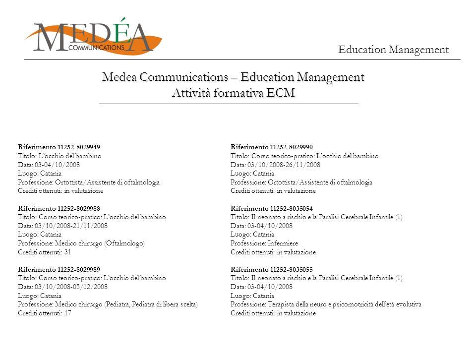 Education Management Medea Communications – Education Management Attività formativa ECM Riferimento 11252-8029949 Titolo: Locchio del bambino Data: 03