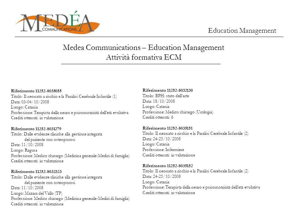Education Management Medea Communications – Education Management Attività formativa ECM Riferimento 11252-8035055 Titolo: Il neonato a rischio e la Pa