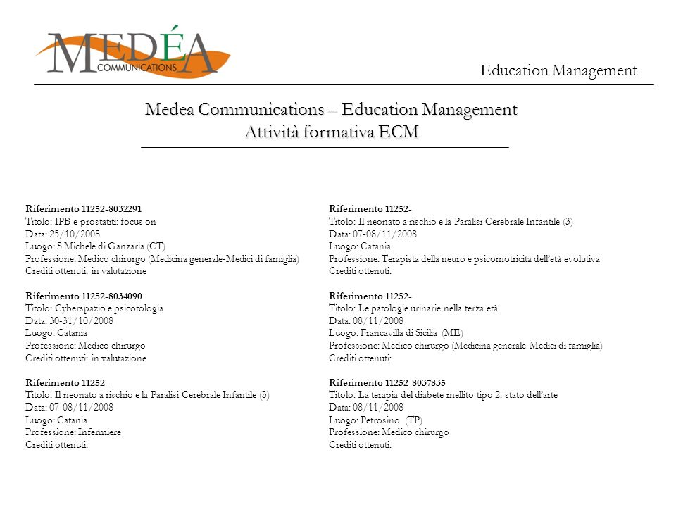 Education Management Medea Communications – Education Management Attività formativa ECM Riferimento 11252-8032291 Titolo: IPB e prostatiti: focus on D