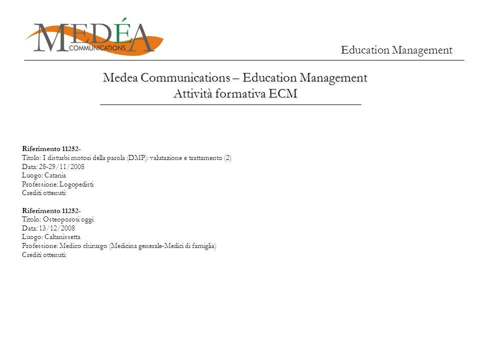 Education Management Medea Communications – Education Management Attività formativa ECM Riferimento 11252- Titolo: I disturbi motori della parola (DMP