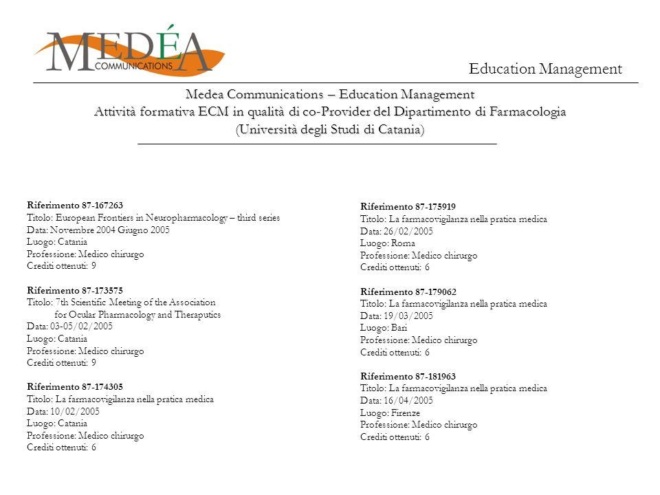 Medea Communications – Education Management Attività formativa ECM in qualità di co-Provider del Dipartimento di Farmacologia (Università degli Studi