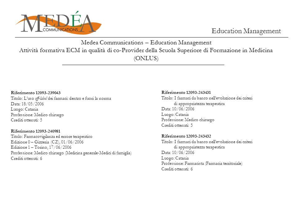 Medea Communications – Education Management Attività formativa ECM in qualità di co-Provider della Scuola Superiore di Formazione in Medicina (ONLUS)