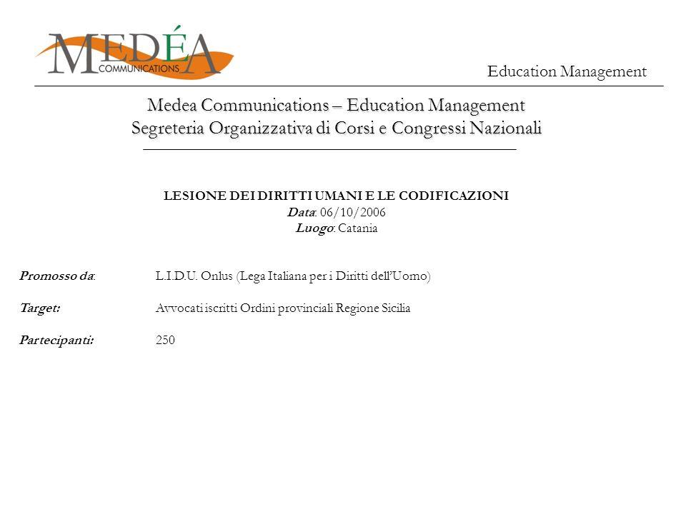 Education Management Medea Communications – Education Management Segreteria Organizzativa di Corsi e Congressi Nazionali LESIONE DEI DIRITTI UMANI E L