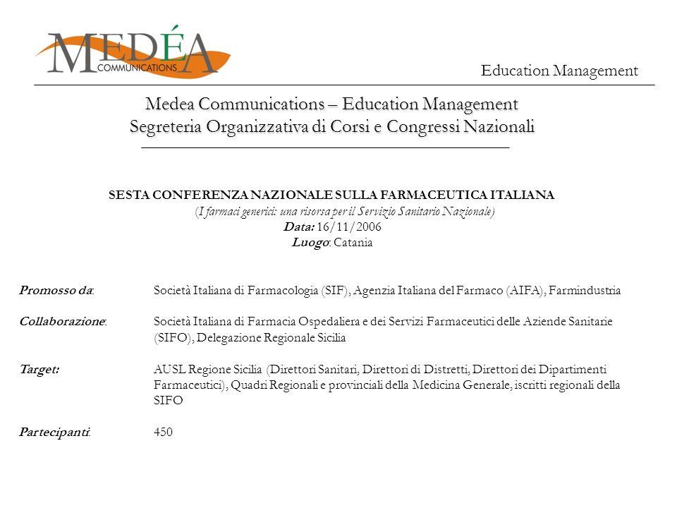 Education Management Medea Communications – Education Management Segreteria Organizzativa di Corsi e Congressi Nazionali SESTA CONFERENZA NAZIONALE SU