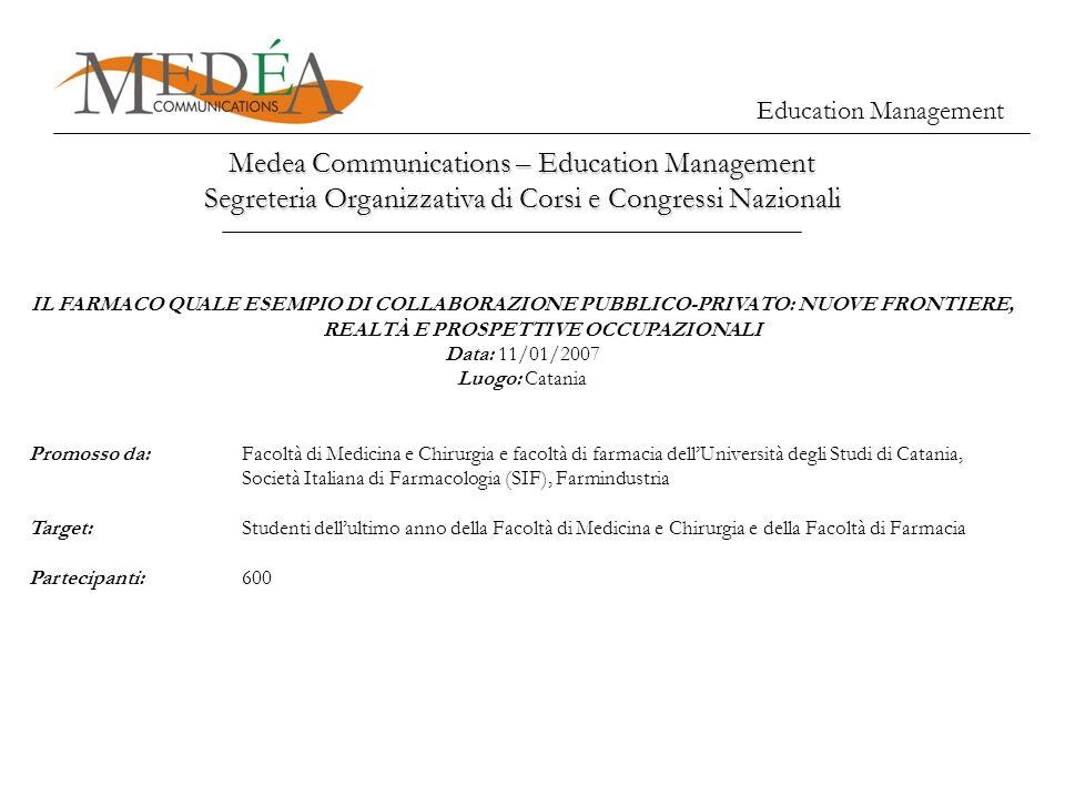 Medea Communications – Education Management Segreteria Organizzativa di Corsi e Congressi Nazionali Education Management IL FARMACO QUALE ESEMPIO DI C