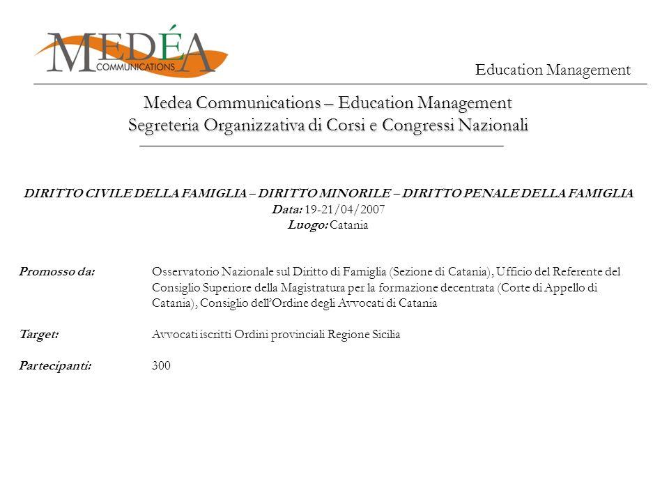 Medea Communications – Education Management Segreteria Organizzativa di Corsi e Congressi Nazionali Education Management DIRITTO CIVILE DELLA FAMIGLIA