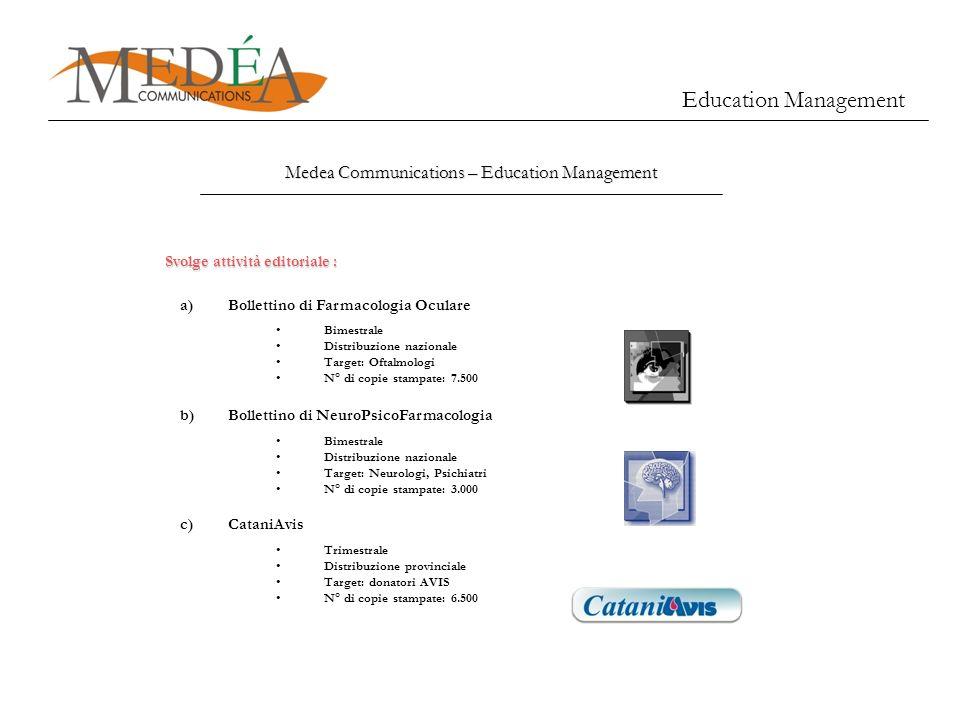Medea Communications – Education Management a)Bollettino di Farmacologia Oculare Bimestrale Distribuzione nazionale Target: Oftalmologi N° di copie st