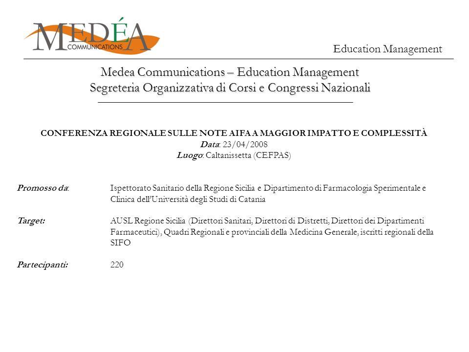 Education Management Medea Communications – Education Management Segreteria Organizzativa di Corsi e Congressi Nazionali CONFERENZA REGIONALE SULLE NO