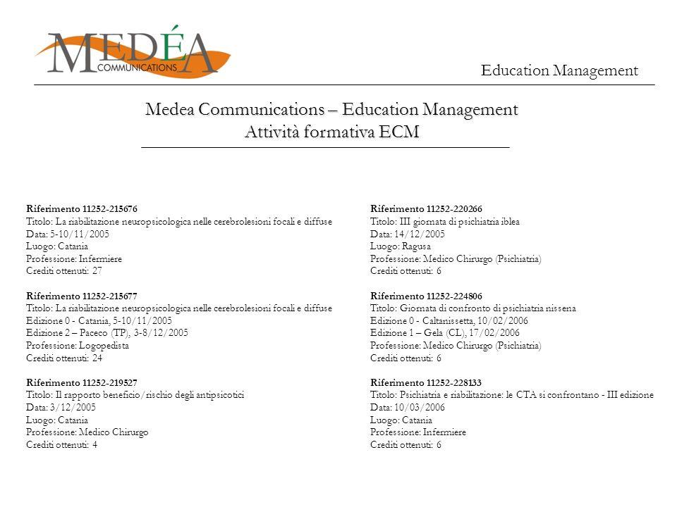 Medea Communications – Education Management Attività formativa ECM Education Management Riferimento 11252-215676 Titolo: La riabilitazione neuropsicol