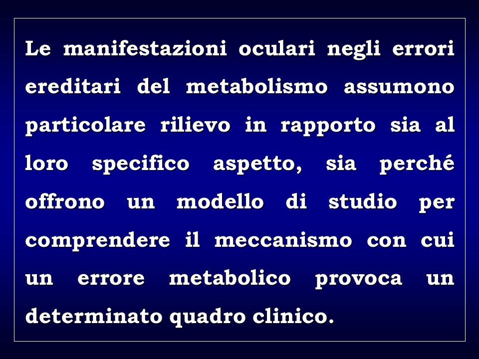a aa a aa Le manifestazioni oculari negli errori ereditari del metabolismo assumono particolare rilievo in rapporto sia al loro specifico aspetto, sia perché offrono un modello di studio per comprendere il meccanismo con cui un errore metabolico provoca un determinato quadro clinico.