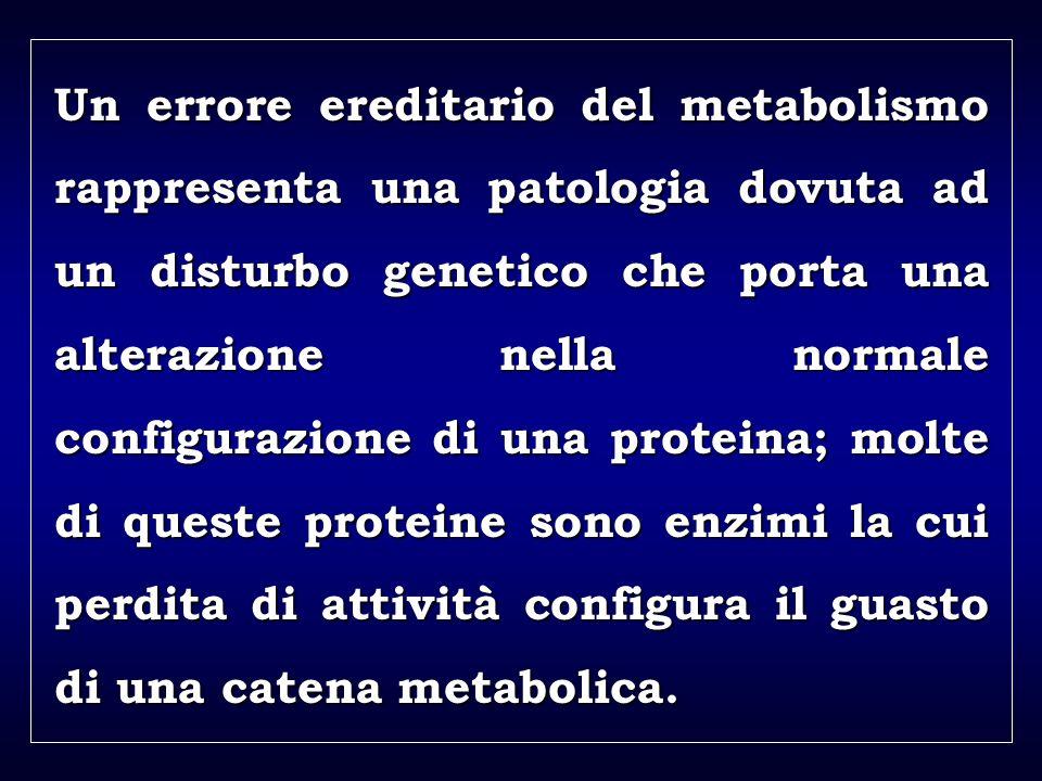 a aa a aa Un errore ereditario del metabolismo rappresenta una patologia dovuta ad un disturbo genetico che porta una alterazione nella normale configurazione di una proteina; molte di queste proteine sono enzimi la cui perdita di attività configura il guasto di una catena metabolica.