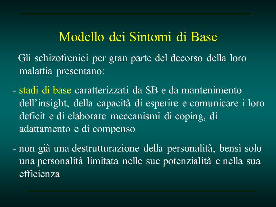 Modello dei Sintomi di Base Gli schizofrenici per gran parte del decorso della loro malattia presentano: - stadi di base caratterizzati da SB e da man
