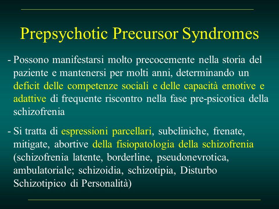 Prepsychotic Precursor Syndromes -Possono manifestarsi molto precocemente nella storia del paziente e mantenersi per molti anni, determinando un defic