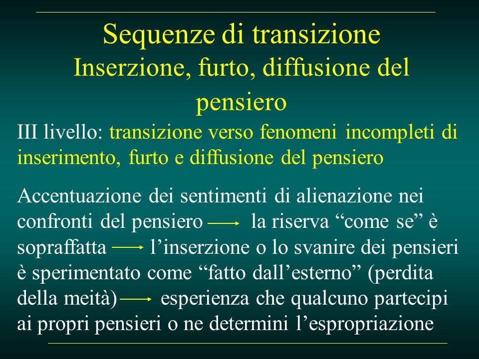 Sequenze di transizione Inserzione, furto, diffusione del pensiero III livello: transizione verso fenomeni incompleti di inserimento, furto e diffusio