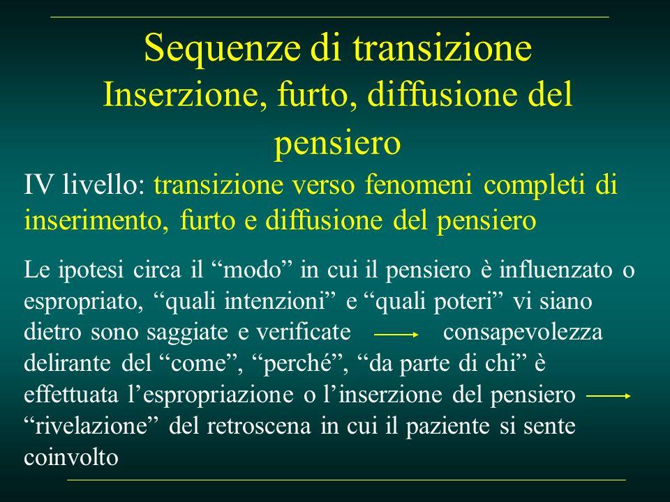 Sequenze di transizione Inserzione, furto, diffusione del pensiero IV livello: transizione verso fenomeni completi di inserimento, furto e diffusione
