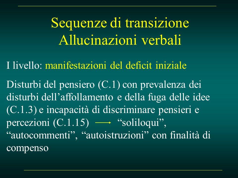 Sequenze di transizione Allucinazioni verbali I livello: manifestazioni del deficit iniziale Disturbi del pensiero (C.1) con prevalenza dei disturbi d