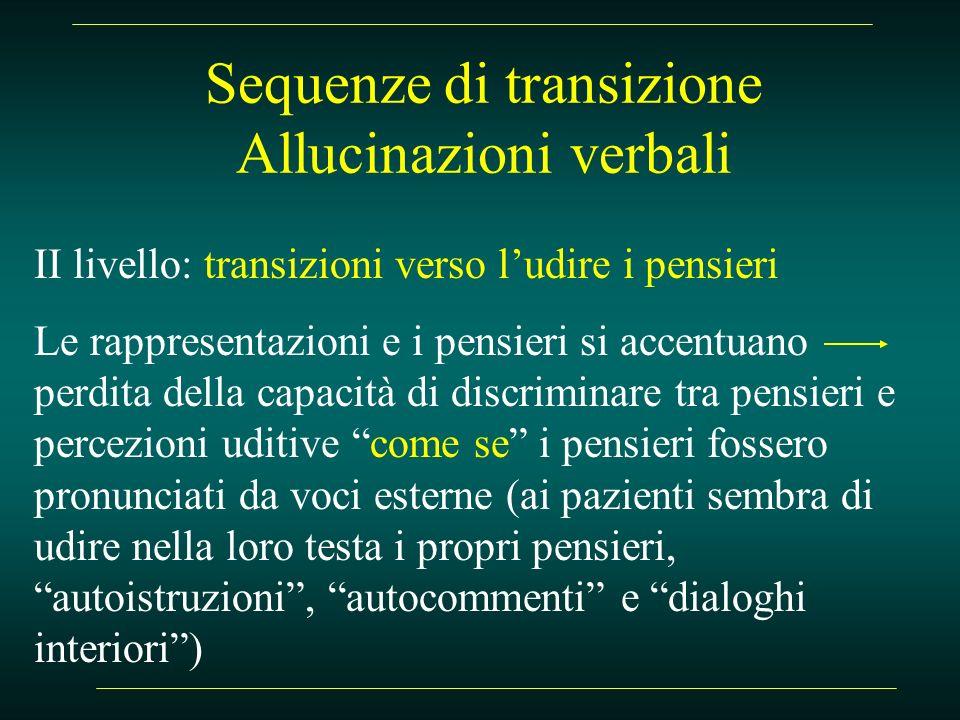 Sequenze di transizione Allucinazioni verbali II livello: transizioni verso ludire i pensieri Le rappresentazioni e i pensieri si accentuano perdita d