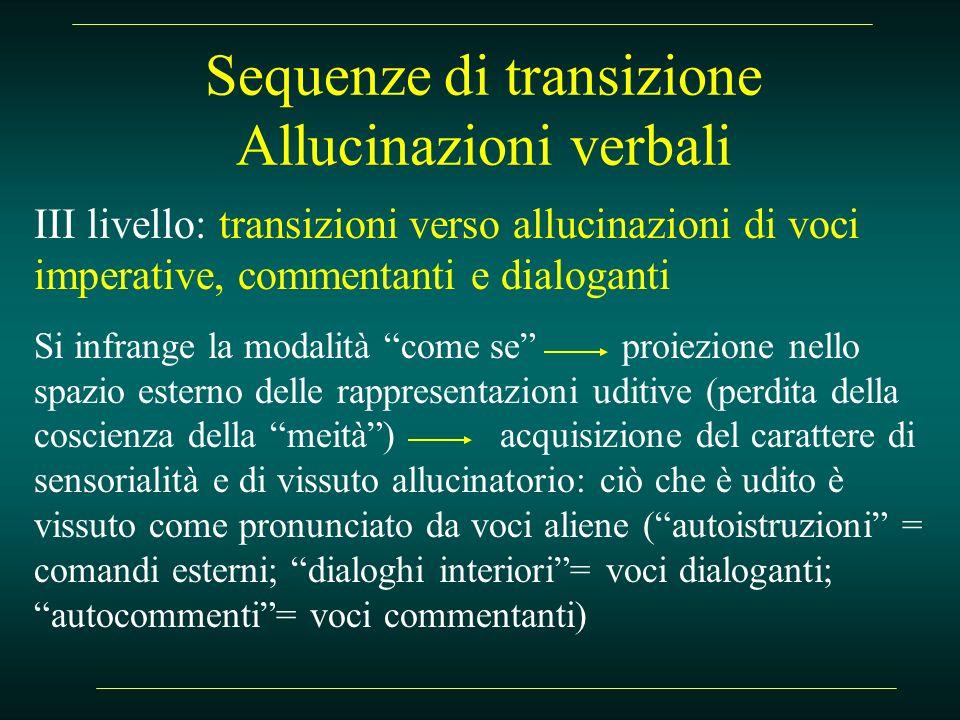 Sequenze di transizione Allucinazioni verbali III livello: transizioni verso allucinazioni di voci imperative, commentanti e dialoganti Si infrange la