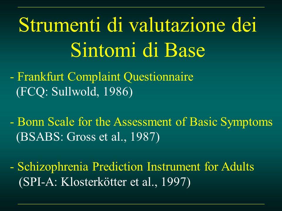 Initial prodromal phase in Schizophrenia (Bechdolf et al., 2002) - SB prevalenti nei depressi: - diminuzione della spinta, dellattività, della motivazione, dello slancio, della iniziativa (A.4) - diminuzione dei sentimenti di simpatia e di sintonia (A.6.3) - diminuzione della capacità di risonanza emotiva (A.6.1) - disturbi della concentrazione (C.1.5) e della memoria (C.1.9)