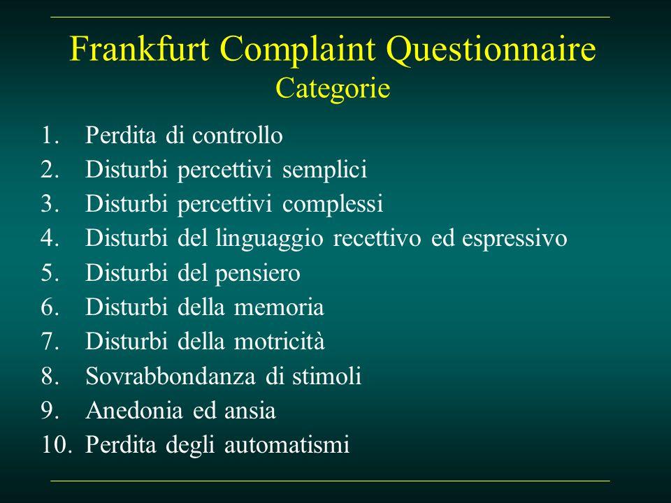 Frankfurt Complaint Questionnaire Categorie 1.Perdita di controllo 2.Disturbi percettivi semplici 3.Disturbi percettivi complessi 4.Disturbi del lingu