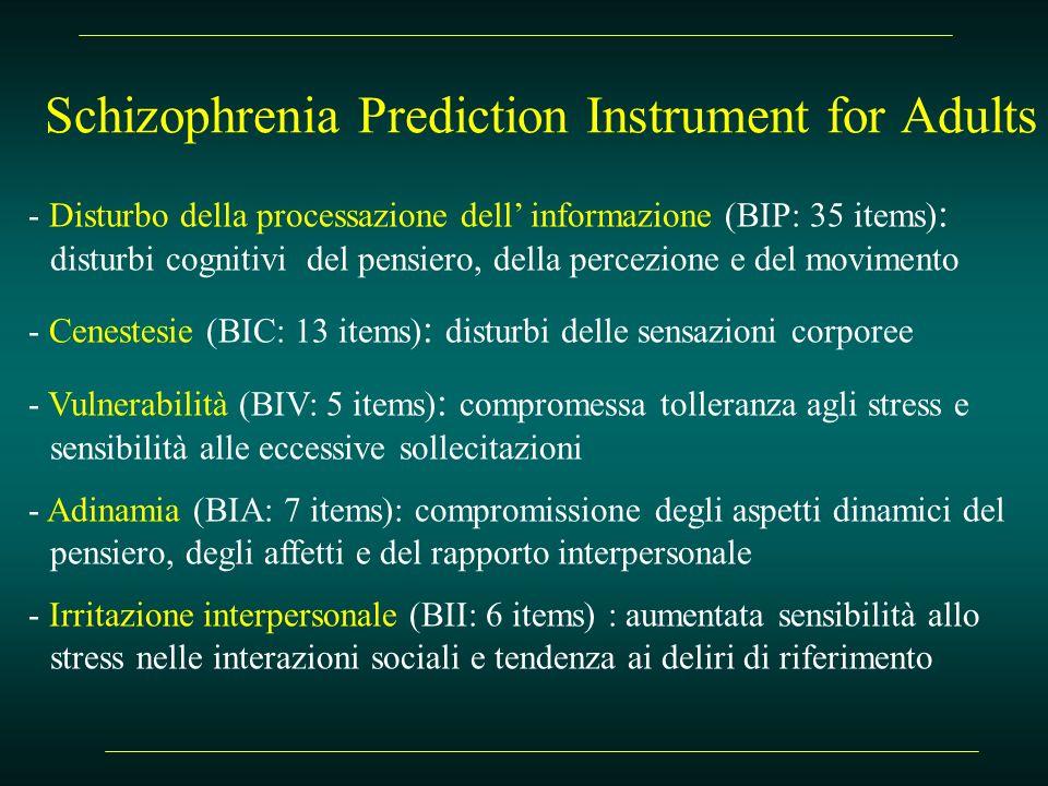 Schizophrenia Prediction Instrument for Adults - Disturbo della processazione dell informazione (BIP: 35 items) : disturbi cognitivi del pensiero, del