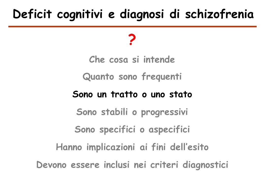 Deficit cognitivi e diagnosi di schizofrenia .