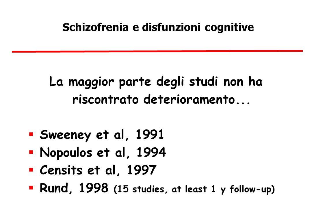 Schizofrenia e disfunzioni cognitive La maggior parte degli studi non ha riscontrato deterioramento...