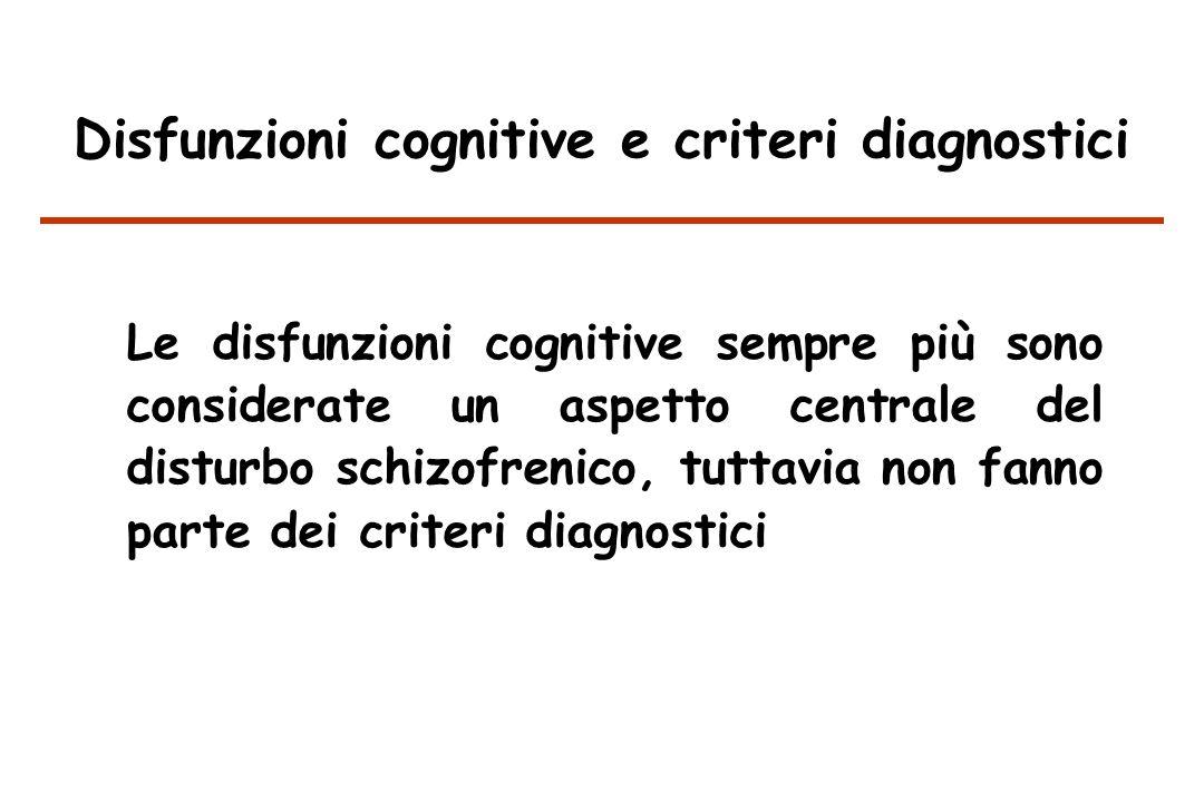 Disfunzioni cognitive e criteri diagnostici Le disfunzioni cognitive sempre più sono considerate un aspetto centrale del disturbo schizofrenico, tuttavia non fanno parte dei criteri diagnostici