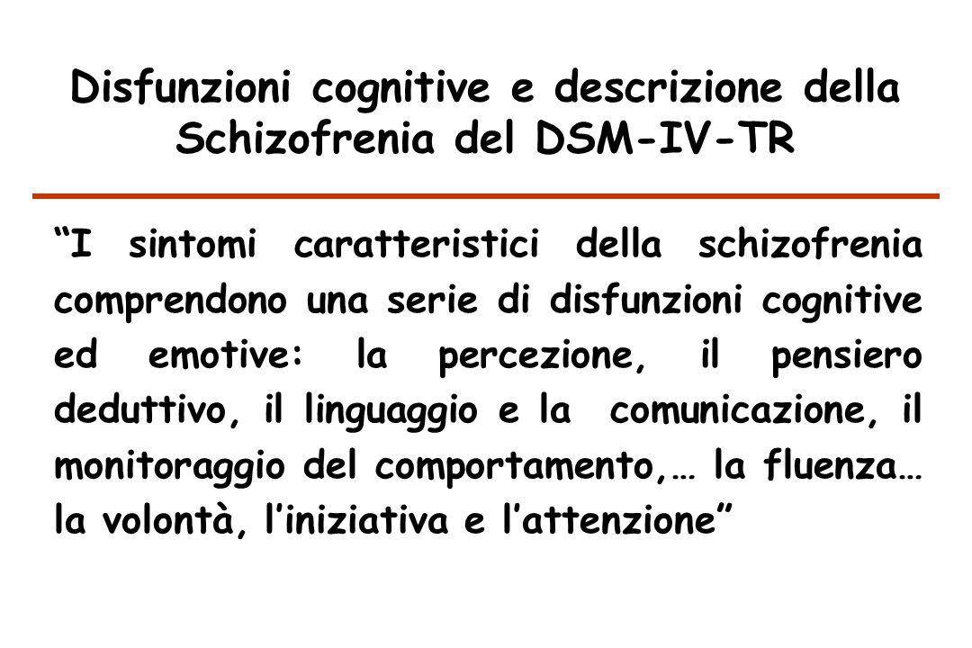 Disfunzioni cognitive e descrizione della Schizofrenia del DSM-IV-TR I sintomi caratteristici della schizofrenia comprendono una serie di disfunzioni cognitive ed emotive: la percezione, il pensiero deduttivo, il linguaggio e la comunicazione, il monitoraggio del comportamento,… la fluenza… la volontà, liniziativa e lattenzione