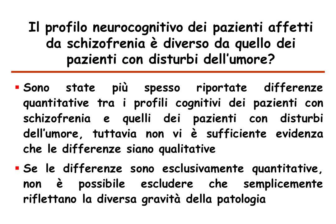 Il profilo neurocognitivo dei pazienti affetti da schizofrenia è diverso da quello dei pazienti con disturbi dellumore.