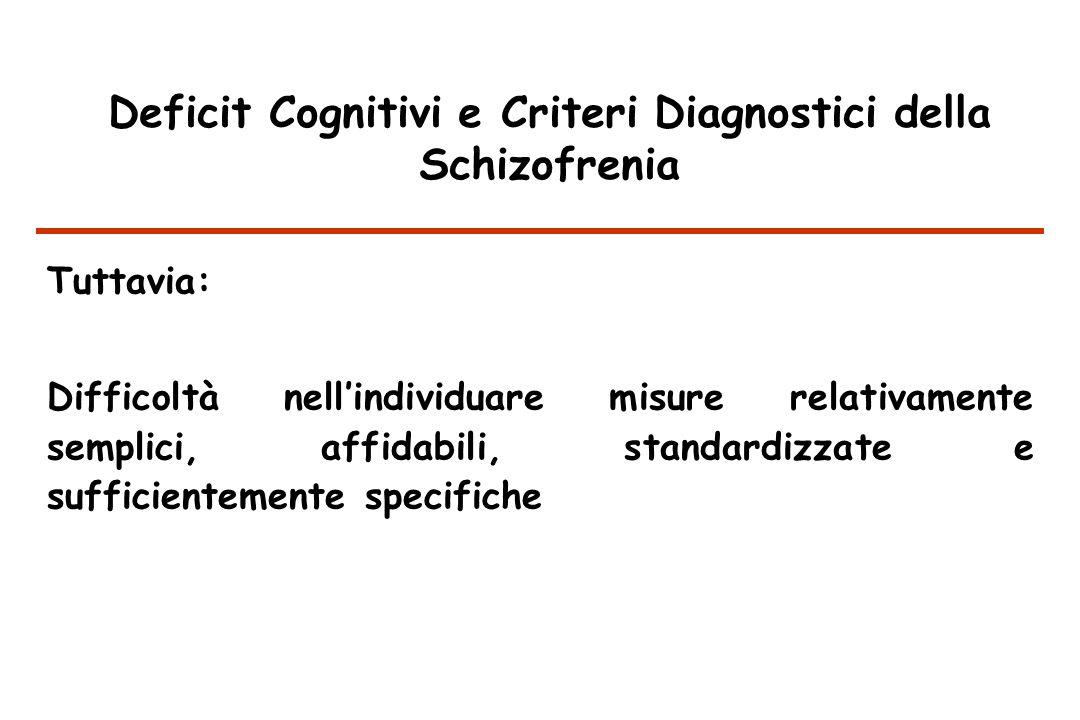 Deficit Cognitivi e Criteri Diagnostici della Schizofrenia Tuttavia: Difficoltà nellindividuare misure relativamente semplici, affidabili, standardizzate e sufficientemente specifiche