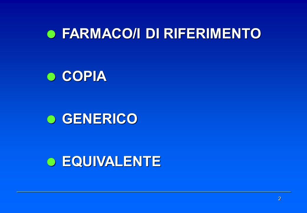 2 FARMACO/I DI RIFERIMENTO FARMACO/I DI RIFERIMENTO COPIA COPIA GENERICO GENERICO EQUIVALENTE EQUIVALENTE