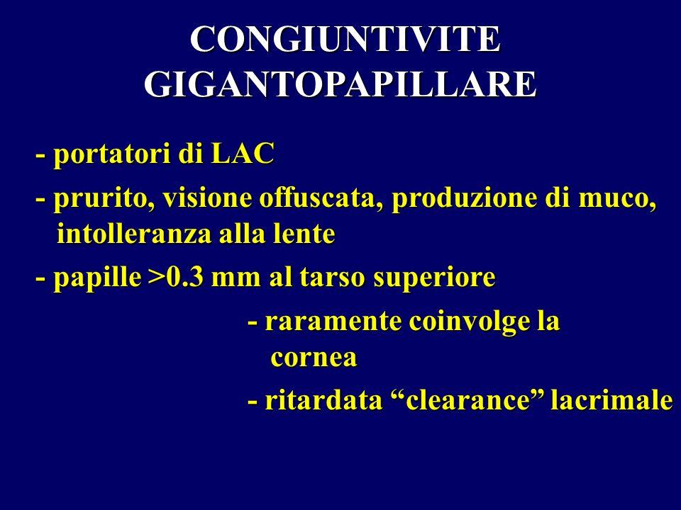 CONGIUNTIVITE GIGANTOPAPILLARE CONGIUNTIVITE GIGANTOPAPILLARE - portatori di LAC - prurito, visione offuscata, produzione di muco, intolleranza alla l