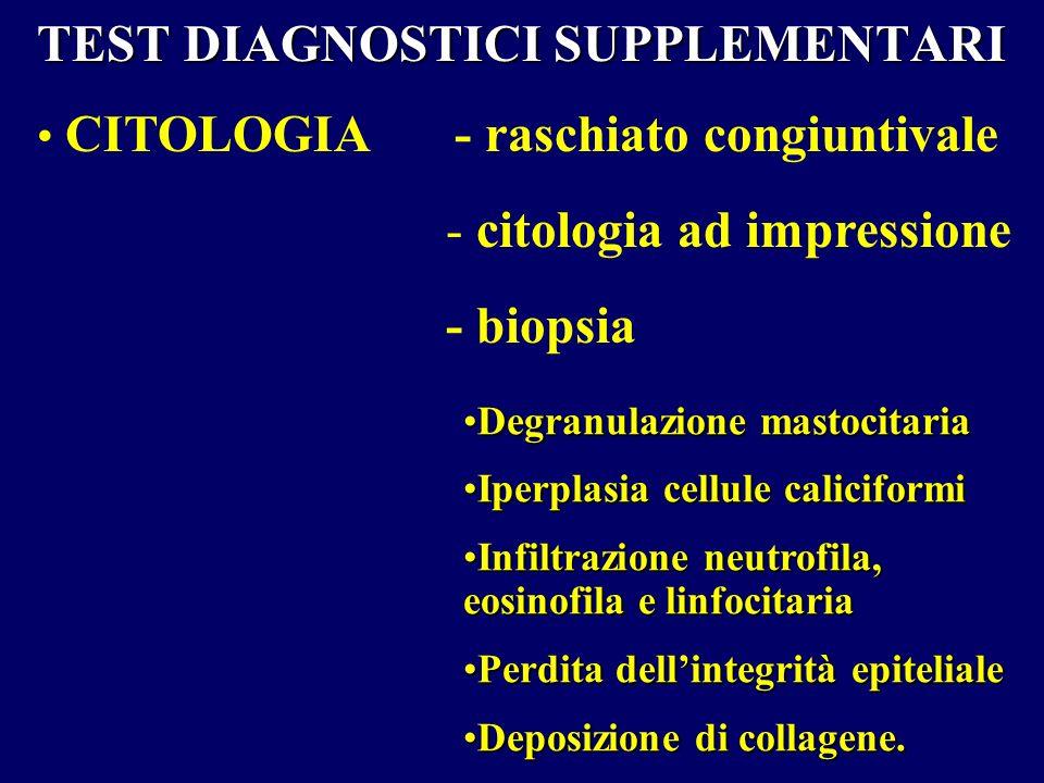 TEST DIAGNOSTICI SUPPLEMENTARI CITOLOGIA - raschiato congiuntivale - citologia ad impressione - biopsia Degranulazione mastocitariaDegranulazione mast