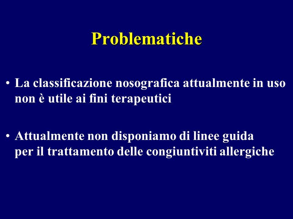 La classificazione nosografica attualmente in uso non è utile ai fini terapeutici Attualmente non disponiamo di linee guida per il trattamento delle c