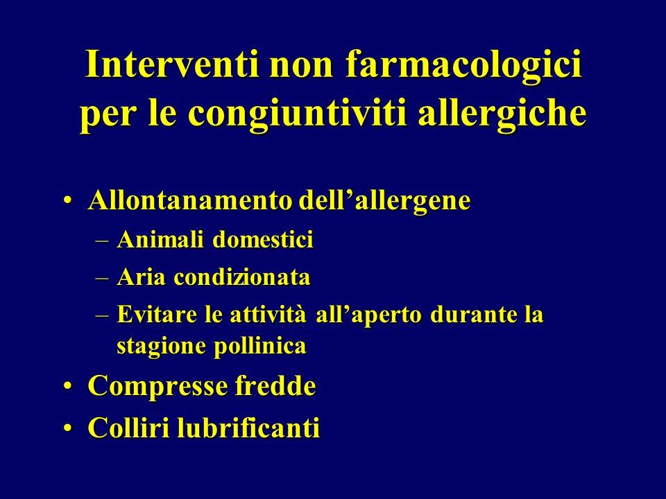 Interventi non farmacologici per le congiuntiviti allergiche Allontanamento dellallergeneAllontanamento dellallergene –Animali domestici –Aria condizi