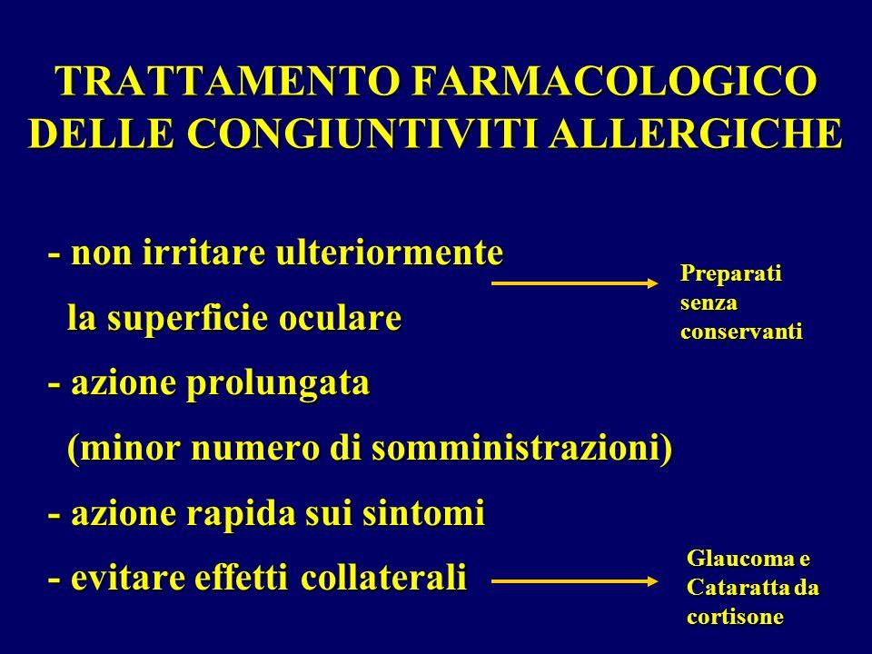 TRATTAMENTO FARMACOLOGICO DELLE CONGIUNTIVITI ALLERGICHE - non irritare ulteriormente la superficie oculare la superficie oculare - azione prolungata