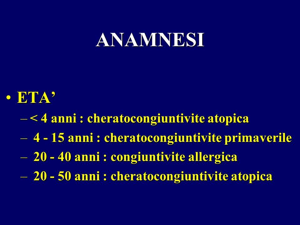 ANAMNESI ETAETA –< 4 anni : cheratocongiuntivite atopica – 4 - 15 anni : cheratocongiuntivite primaverile – 20 - 40 anni : congiuntivite allergica – 2