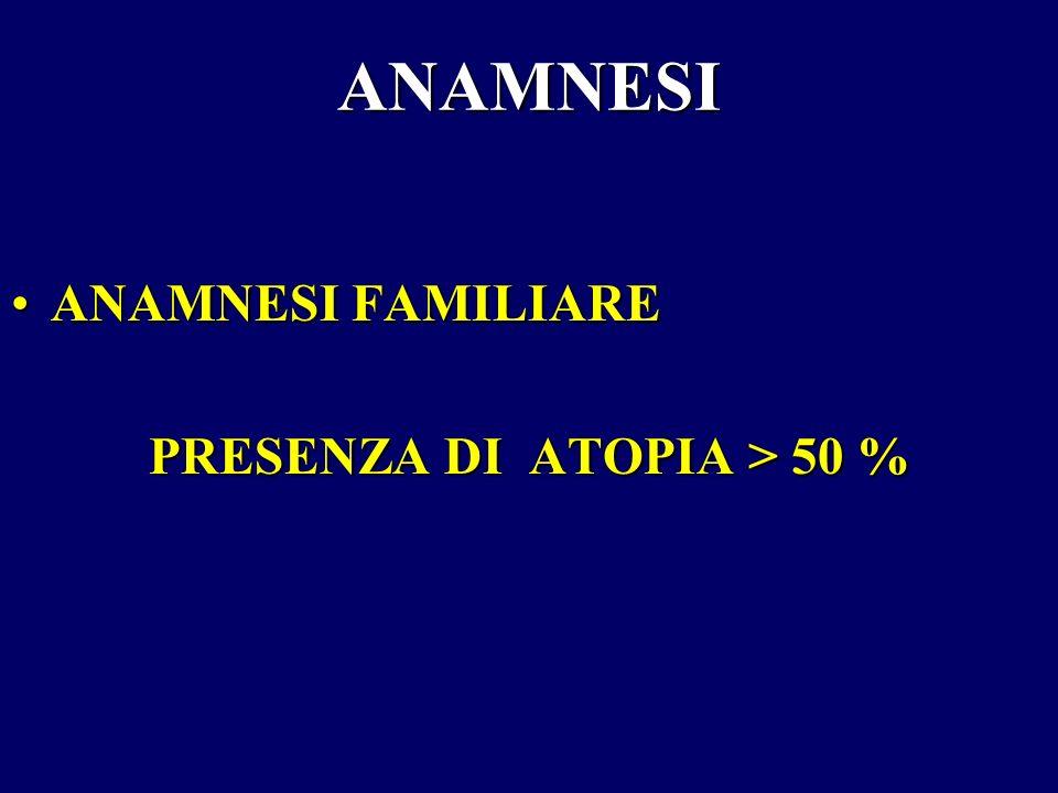 ANAMNESI ANAMNESI FAMILIAREANAMNESI FAMILIARE PRESENZA DI ATOPIA > 50 %