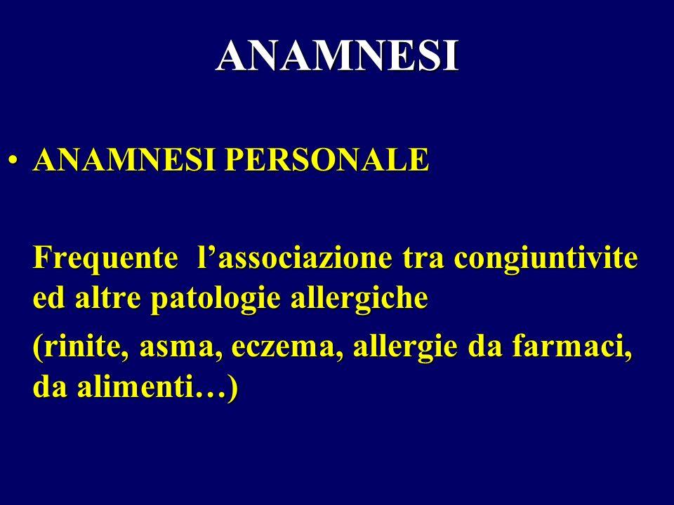 ANAMNESI ANAMNESI PERSONALEANAMNESI PERSONALE Frequente lassociazione tra congiuntivite ed altre patologie allergiche (rinite, asma, eczema, allergie
