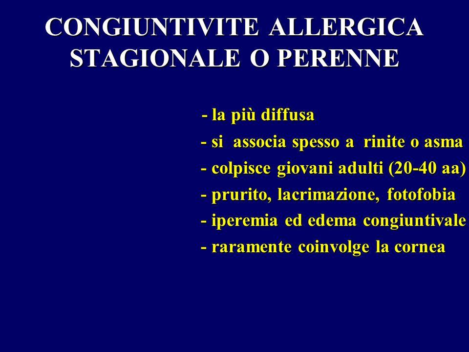 CONGIUNTIVITE ALLERGICA STAGIONALE O PERENNE - la più diffusa - si associa spesso a rinite o asma - si associa spesso a rinite o asma - colpisce giova