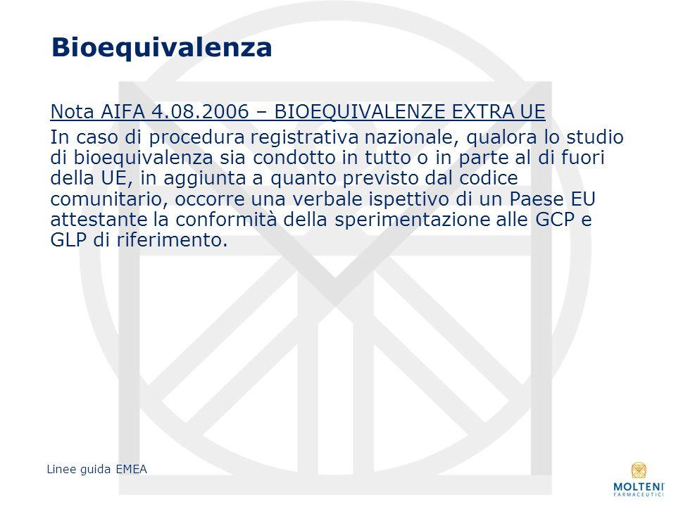 Bioequivalenza Nota AIFA 4.08.2006 – BIOEQUIVALENZE EXTRA UE In caso di procedura registrativa nazionale, qualora lo studio di bioequivalenza sia cond