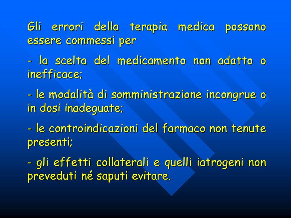 Gli errori della terapia medica possono essere commessi per - la scelta del medicamento non adatto o inefficace; - le modalità di somministrazione inc