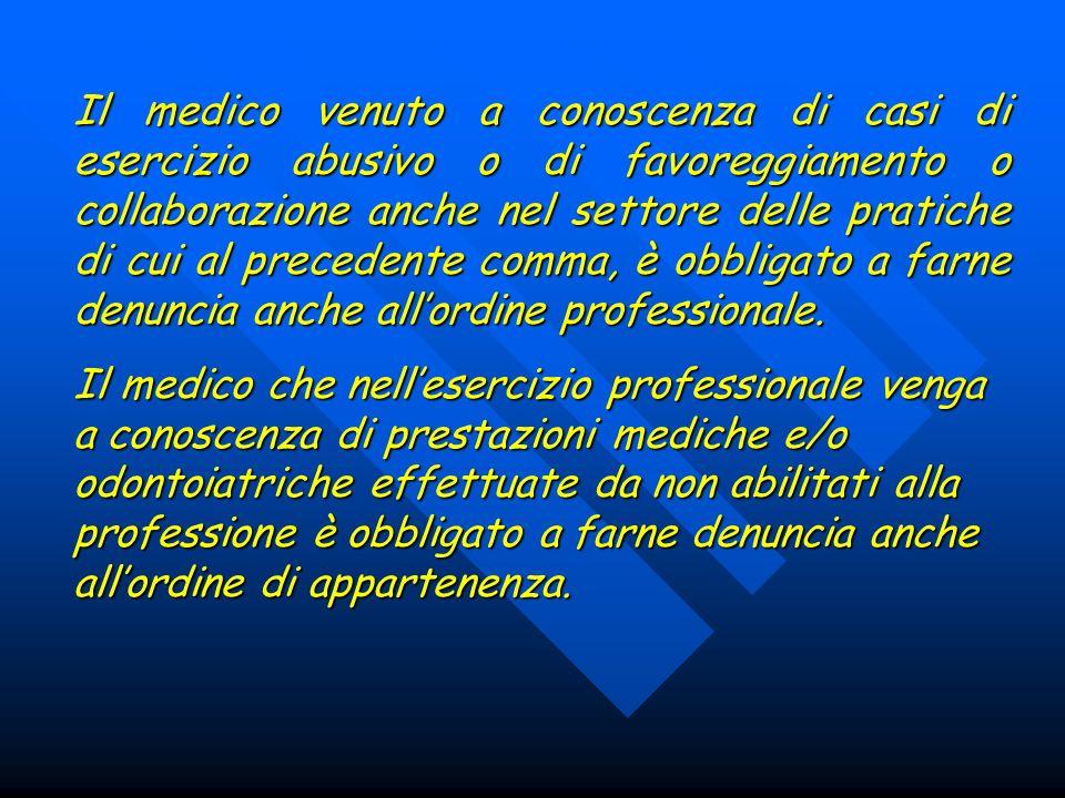 Il medico venuto a conoscenza di casi di esercizio abusivo o di favoreggiamento o collaborazione anche nel settore delle pratiche di cui al precedente